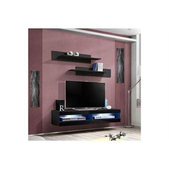 Meuble Tv Mural Design Fly Ii 160cm Noir