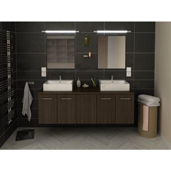Meuble de salle de bain double vasque 150 cm finition bois noir JULIE