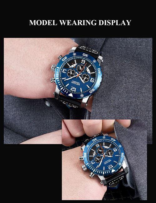 e6047183503c9 -10% sur MEGIR 2084 Hommes Montre Top De Luxe Marque Montre En Cuir Bande  Mouvement À Quartz Montre-Bracelet Sport Montre Homme Montre De Mode et ...