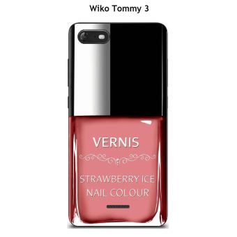 Coque TPU gel souple Wiko Tommy 3 design Vernis Strawberry Ice
