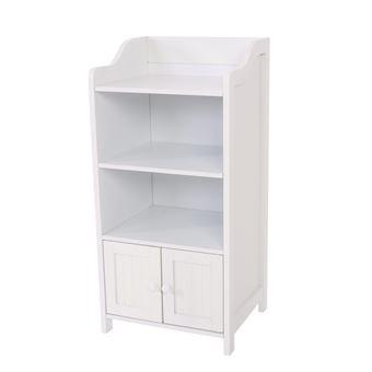 Meuble étagère de rangement salle de bains, bois, blanc ...