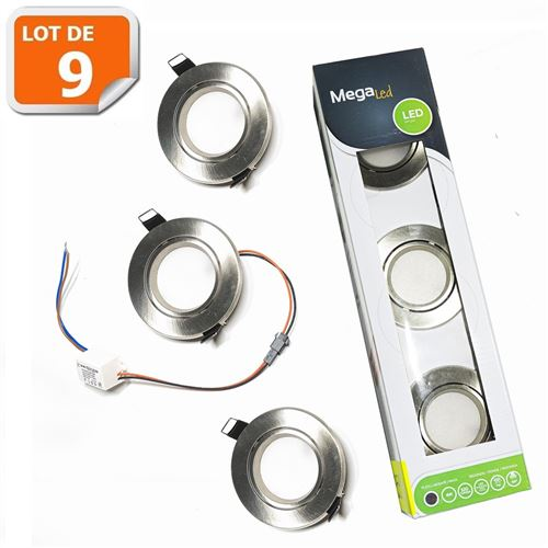 Lot de 9 spots encastrables LED amovibles Argentés 2W - Equivalent 40W - Mega Led CLI-RS40WP3