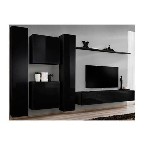 Ensemble meuble salon SWITCH VI design, coloris noir brillant.
