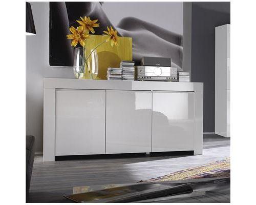 Buffet bahut blanc laqué 3 ou 4 portes design PIETRA - Blanc - L 160 x P 50 x H 84 cm