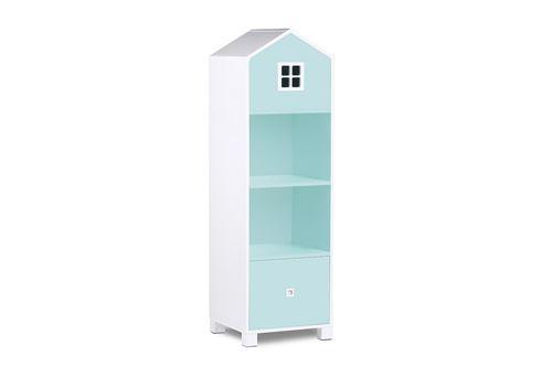 MIRUM - Bibliothèque chambre enfant - 3 niches + 1 tiroir - 47 x Blanc/Bleu
