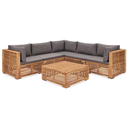 vidaXL Salon de jardin - Canapé d'angle 5 pièces + 1 table - Bois de teck solide cousin gris