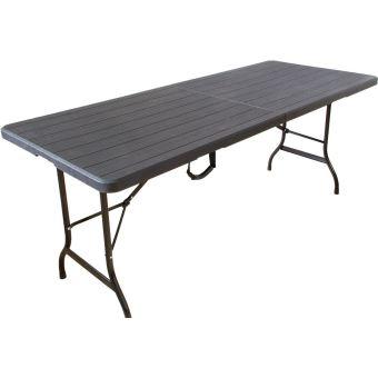 Table pliante 180 cm aspect bois noir, table de brasserie