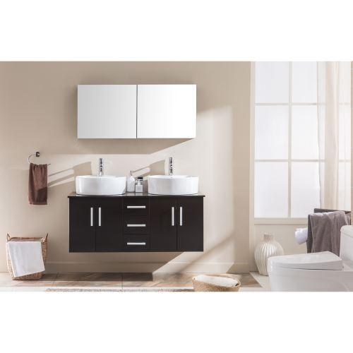 Le Maia Wengé : Ensemble meuble de salle de bain, 2 vasques, 1 ...