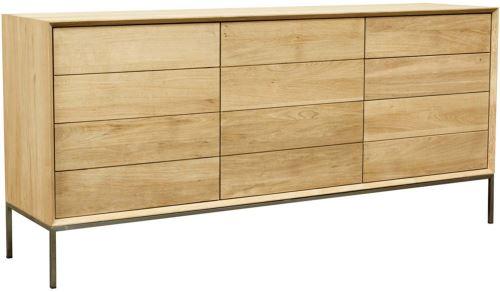 Delorm - Buffet en chêne massif 2 portes 3 tiroirs Kubico