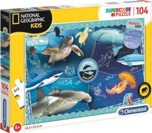 Puzzle 104 pieces ocean tortue requin marteau et meduse - puzzle enfant - collection national geographic mer - animaux marins