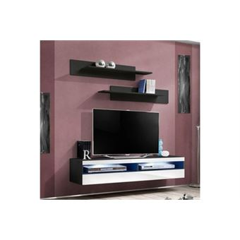 120 Sur Meuble Tv Mural Design Fly Iv 160cm Blanc Noir Achat