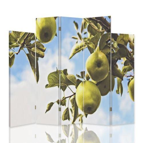 Feeby Paravent 5 parties dissymétriques une face Cloison amovible déco intérieur, Pommes vertes Branche 180x180 cm