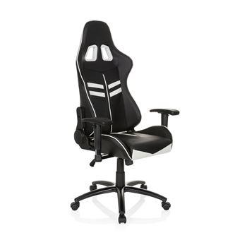 Chaise Gaming De Bureau LEAGUE PRO Simili Cuir Noir Blanc Hjh OFFICE