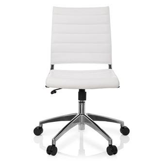 Chaise De Bureau Pivotante TRISHA Simili Cuir Blanc Hjh OFFICE