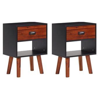 vidaxl bois d 39 acacia massif tables de chevet 40 x 30 58 cm 2 pcs achat prix fnac. Black Bedroom Furniture Sets. Home Design Ideas