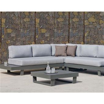 Hevea - Salon de jardin en aluminium canapé d\'angle Anastacia Anthracite
