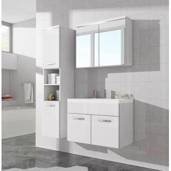 Meuble de salle de bain de paso 80x40cm lavabo blanc brillant armoire de rangement meuble - Achat lavabo salle de bain ...