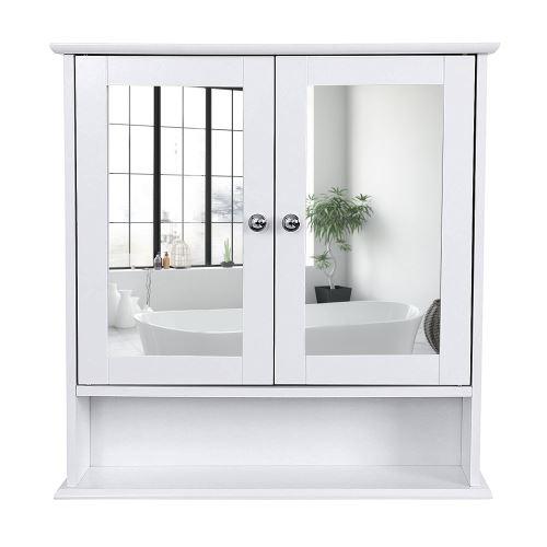 Miroir de salle de bain avec rangements 2 portes en blanc brillant 56*13*58 cm