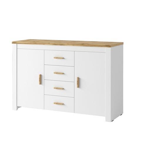 Buffet bahut Nicea 2 portes 4 tiroirs blanc chêne