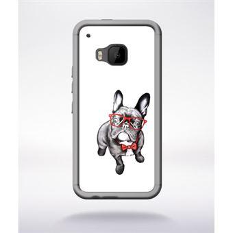 Transparent Htc Français Bulldog Lunettes Compatible Coque One À M9 7gyfIYvb6m