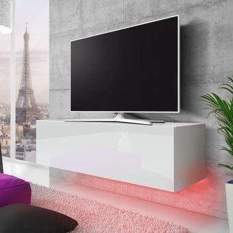 Meuble Tv Lana 140cm Blanc Mat Blanc Brillant Avec Led Rouge