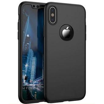 Coque pour Apple iPhone X Coque Noir Verre Trempe Houe Etui 360 Full Hybride Protection Rigide Plastique Dur Anti Choc Ultra Slim Integrale Film Vitre Ecran Ultra Resistant Phonillico