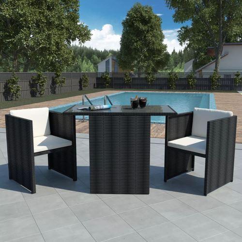 mobilier de jardin Marron Résine tressée 7 pcs 1 table en verre, 2 chaises, 2 coussins de siège et 2 coussins de dossier