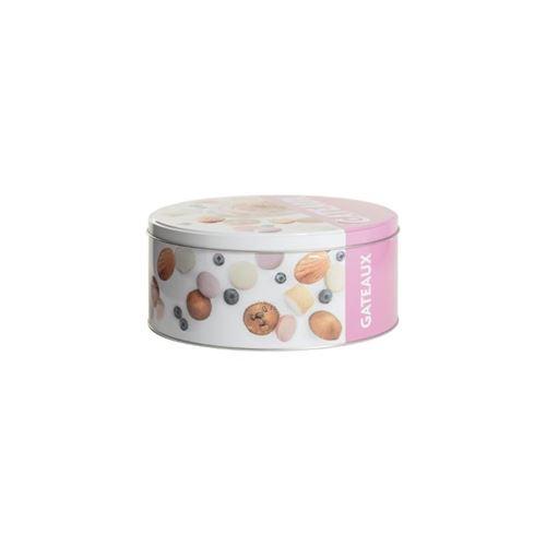 Boîte à Biscuits Ronde Relief III 20cm Rose