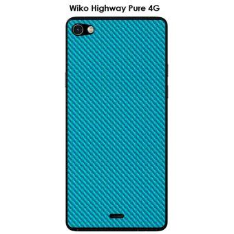 Coque Wiko Highway Pure design Carbone couleur Scuba Blue