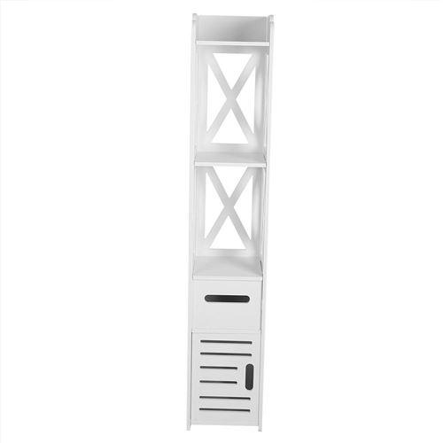 Armoire Toilette Haute Meuble Colonne de Salle de Bain Meuble de Rangement pour Salon Cuisine Couloir Salle de Bain, Blanc
