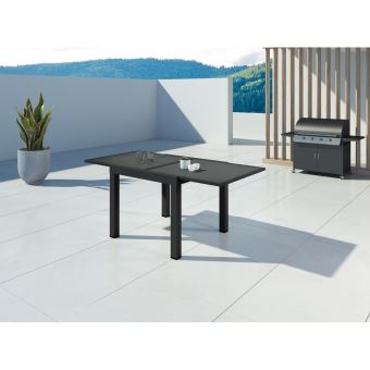 HARA - Table de jardin extensible aluminium - 90/180cm - 6 ...