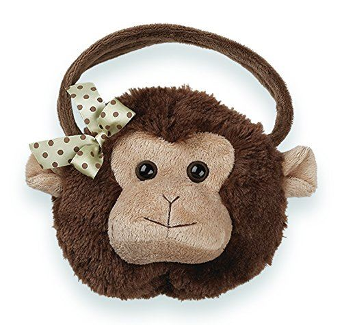 Bearington giggles carrysome, girls Plush Monkey Stuffed Animal Purse, Handbag 7 inches