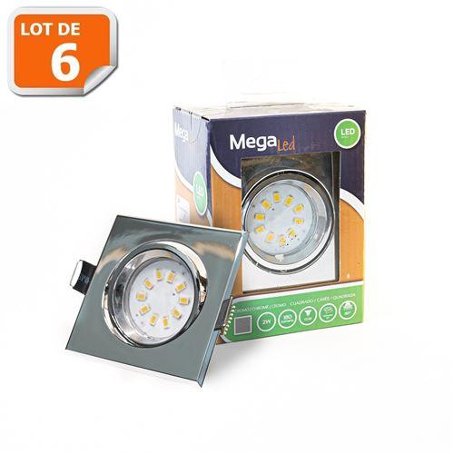 Lot 6 Spots encastrables LED amovibles Chrome 2W - Equivalent 20W - Mega Led CL10GUSC20W