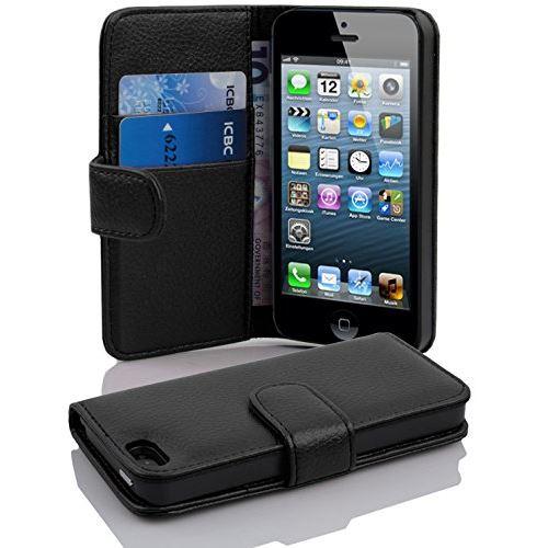 Cadorabo Coque pour iPhone 5 iPhone 5S iPhone SE 5G NOIR DE JAIS Houe de Protection Etui Portefeuille Case Cover pour iPhone 5 5S SE 5G Fente pour Carte