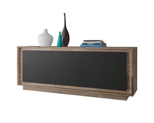 Enfilade 4 portes couleur bois et noir moderne SKYLINE