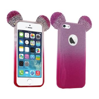 Etui pour Silicone GEL Oreille Mickey 3D Rose pour Iphone 5 5S 5SE