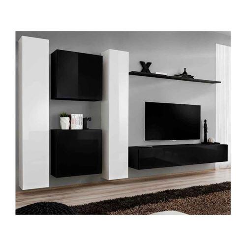 Ensemble meuble salon SWITCH VI design, coloris noir et blanc brillant.