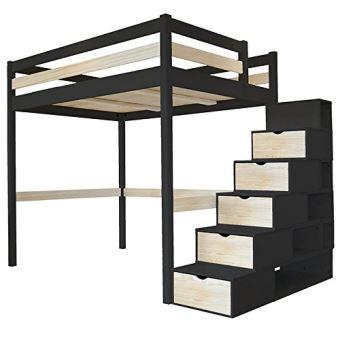 ABC MEUBLES   Lit Mezzanine Sylvia Avec Escalier Cube Bois   CUBE   Noir/ Vernis Naturel, 120x200   Achat U0026 Prix | Fnac