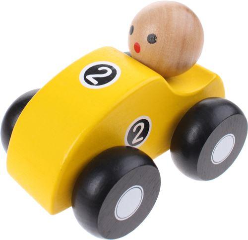 Jouéco voiture de course en bois 10cm jaune