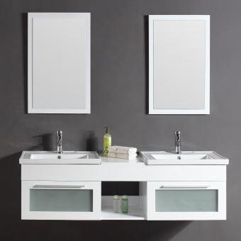 Le Pacific Blanc: Ensemble meuble de salle de bain en chêne, 2 ...