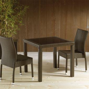 Table de jardin en résine tressée marron et en verre MIMOSA - L 80 x P 80 x  H 74 cm
