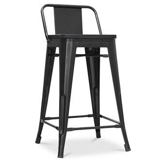 revendeur defbf 969cb Factory tabouret avec assise en bois et petit dossier style xavier pauchard  - 60cm noir