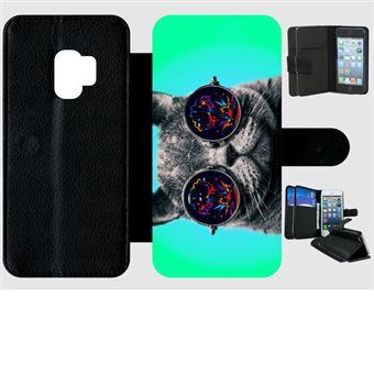 une autre chance choisir authentique brillance des couleurs Etui À Rabat Samsung S9 Chat Fun À Lunette