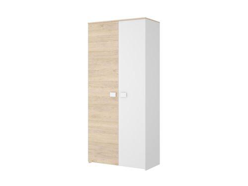 Armoire SONIA - 2 portes - L95cm - Coloris : Chêne et blanc