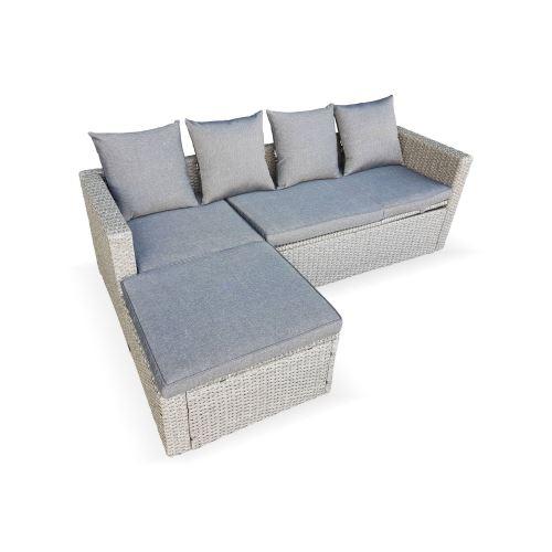 Salon de jardin en résine tressée arrondie - Livorno - Gris, Coussins gris  - 6 places - avec une assise inclinable