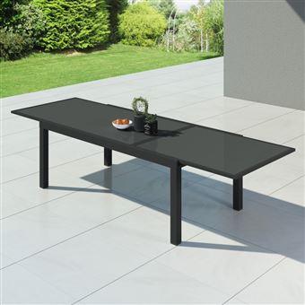 hara xxl table de jardin extensible aluminium 200 320cm 12 places anthracite mobilier. Black Bedroom Furniture Sets. Home Design Ideas
