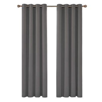 deconovo lot de 2 rideau isolant thermique et phonique a oeillets rideau salon moderne rideaux occultants isolants 132x242cm gris clair
