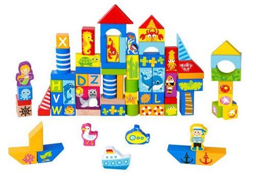 Tooky Toy jeu de blocs Marine junior bois 80 pièces