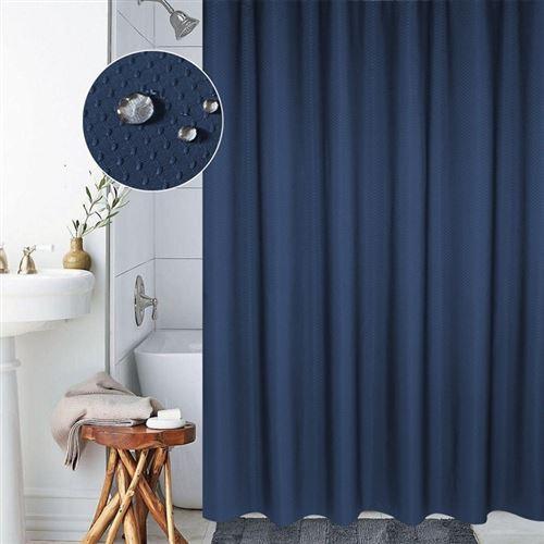 Rideau De Douche Étanche 12 Anneaux 200 x 180 Cm Anti-Moisissure Polyester Bleu - YONIS
