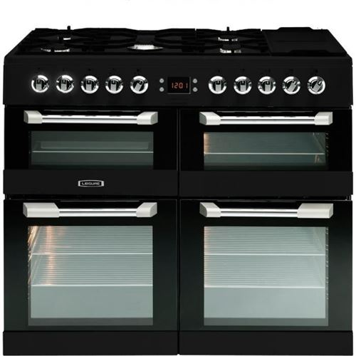 Leisure Cuisinemaster CS100F520K - Cuisinière (triple four) - pose libre - largeur : 100 cm - profondeur : 60 cm - hauteur : 90 cm - avec système auto-nettoyant - noir